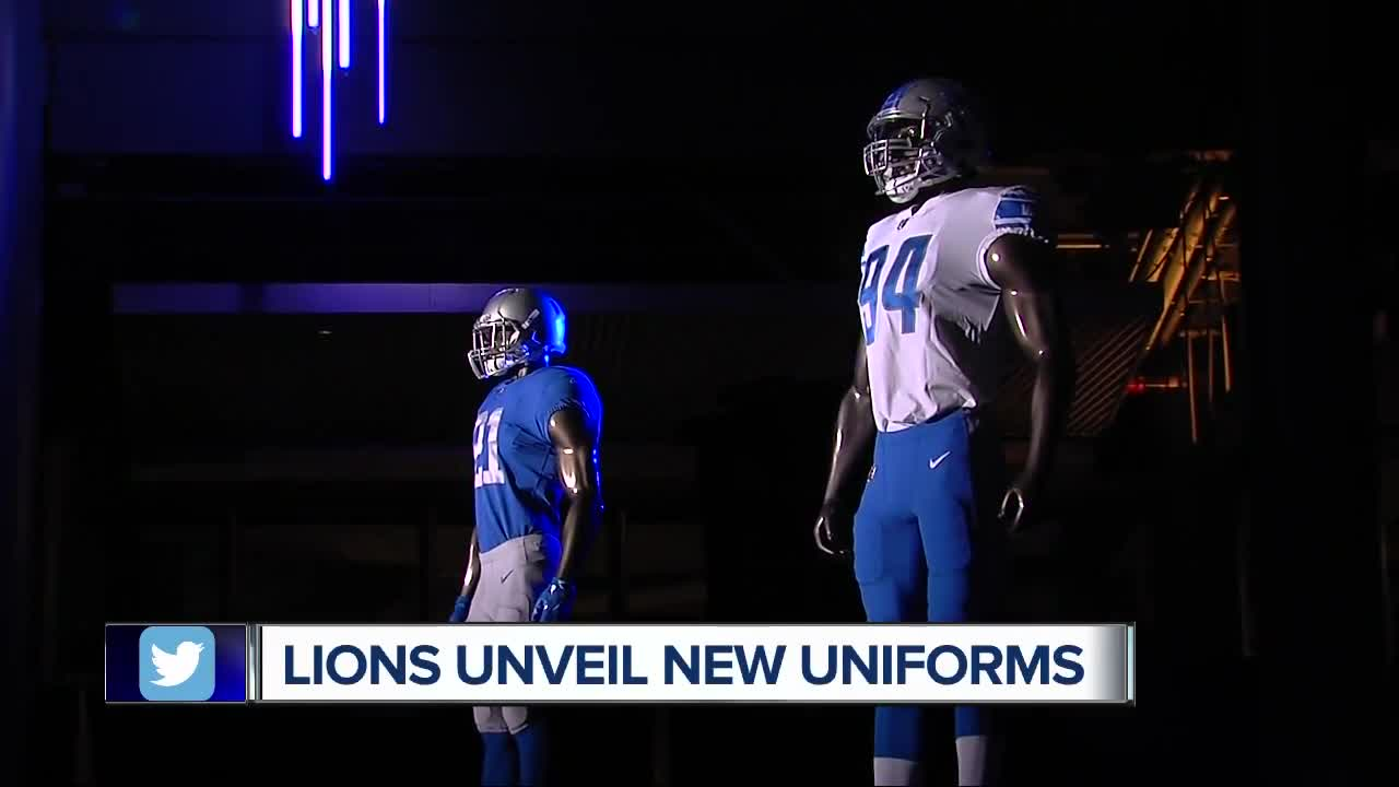 The Detroit Lions unveiled four new Nike uniforms on Thursday night at Ford  Field. a9175868f
