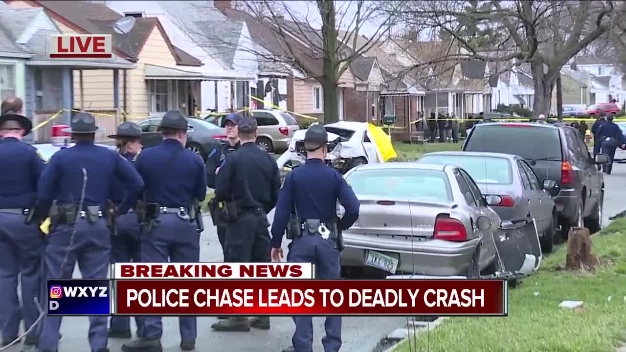 Two dead in crash following police chase on Detroit's west side