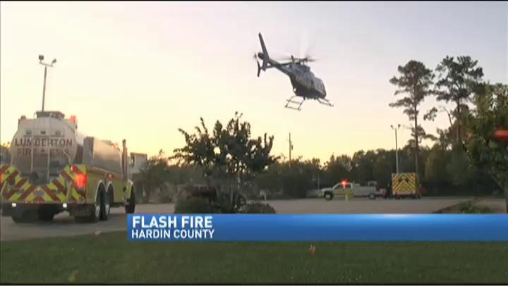 Medical helicopter transports man burned in flash fire in Lumberton